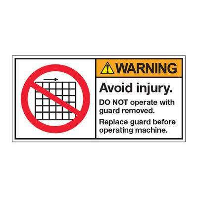 ANSI Z535 Safety Labels - Warning Avoid Injury Do Not Operate With Guard Removed