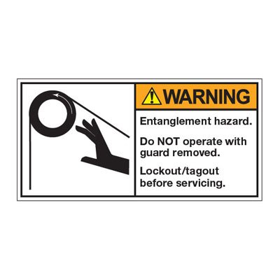 ANSI Z535 Safety Labels - Warning Entanglement Hazard