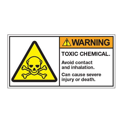 ANSI Z535 Safety Labels - Warning Toxic Chemical Avoid Contact And Inhalation