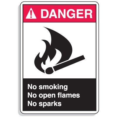 ANSI Z535 Safety Signs - Danger No Smoking Open Flames Sparks