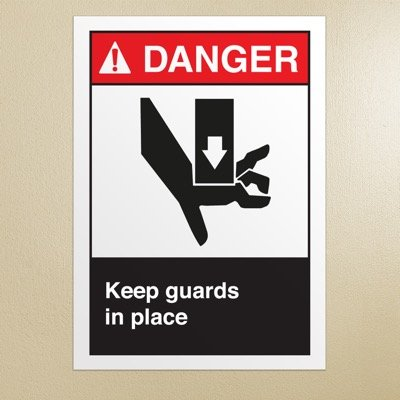 ANSI Z535 Safety Signs - Danger Keep Guards In Place