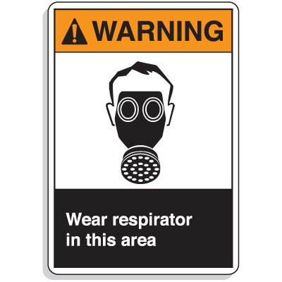ANSI Z535 Safety Signs - Warning Wear Respirator