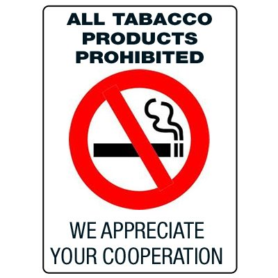 Anti-Microbial Signs - All Tobacco Products Prohibited