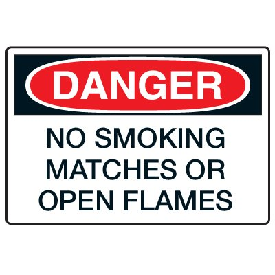 Anti-Microbial Signs - Danger No Smoking Matches Or Open Flames