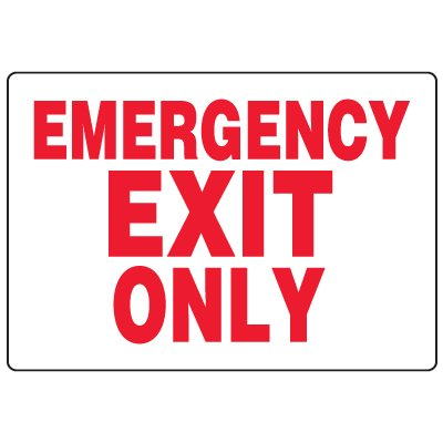 Anti-Microbial Signs - Emergency Exit Only