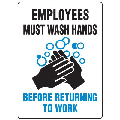 Anti-Microbial Signs - Employees Must Wash Hands