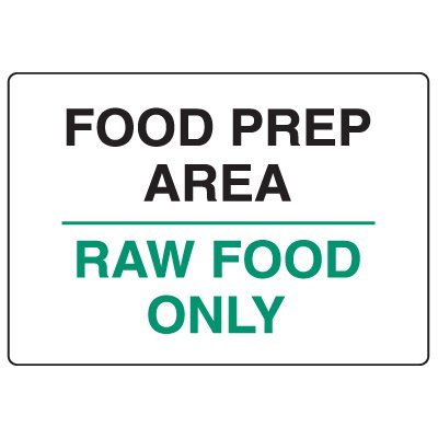 Anti-Microbial Signs - Notice Food Preparation Area