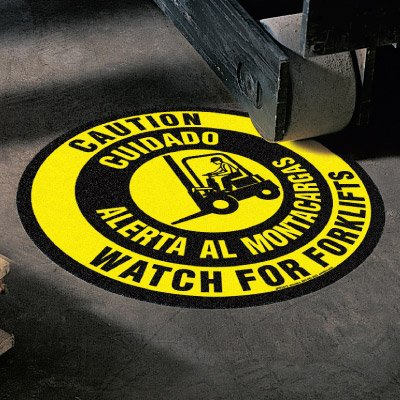 Anti-Slip Floor Markers - Caution Watch For Forklifts (Bilingual)