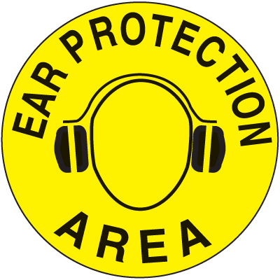 Anti-Slip Safety Floor Markers - Ear Proctection Area