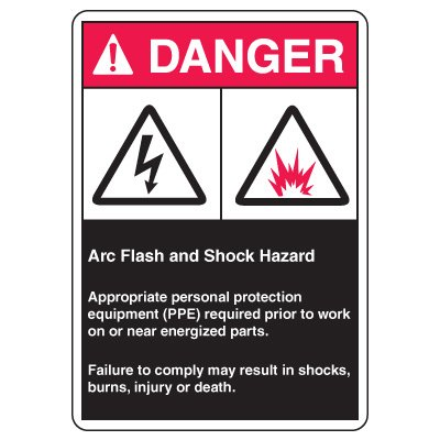 Arc Flash Safety Signs - Danger Arc Flash And Shock Hazard