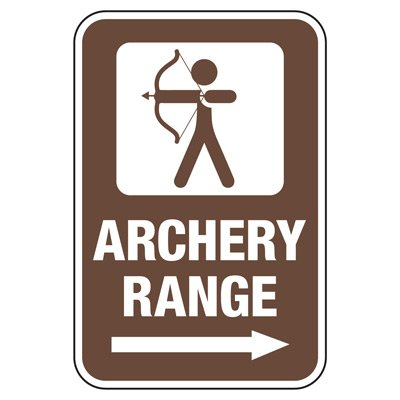 Archery Range with Right Arrow - Athletic Facilities Signs