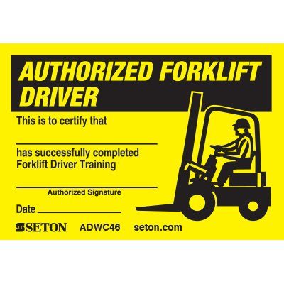 Certification Wallet Card - Authorized Forklift Driver