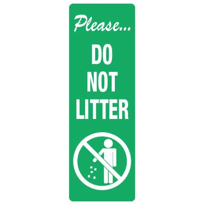 Back Of Sign Labels - Please Do Not Litter