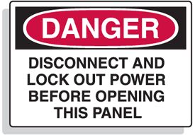 Baler Safety Labels - Danger Disconnect And Lock Out Power Before Opening