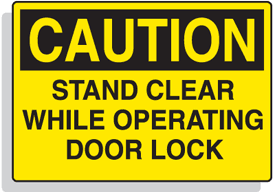 Baler Safety Labels - Caution Stand Clear While Operating Door Lock