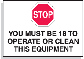 Baler Safety Labels - Stop You Must Be 18 to Operate This Equipment