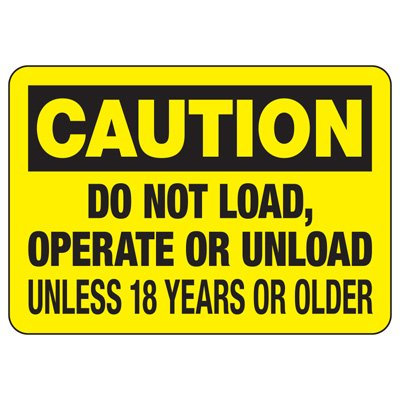 Baler Safety Signs - Caution Do Not Load, Operate Or Unload