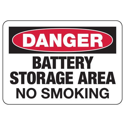 Danger Battery Storage Area No Smoking - Battery Charging Signs