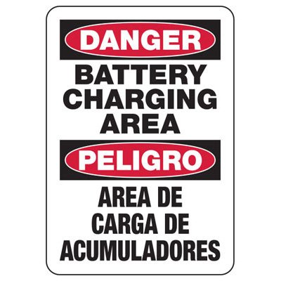 Danger Battery Charging Area - Bilingual Battery Charging Signs