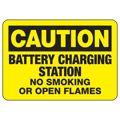 Caution Battery Charging Station No Smoking - Battery Charging Signs