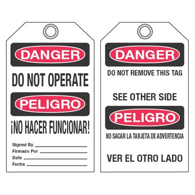 Bilingual Accident Prevention Ultra-Tags - Danger Do Not Operate