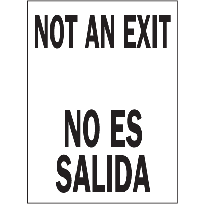 Bilingual Safety Signs - Not An Exit