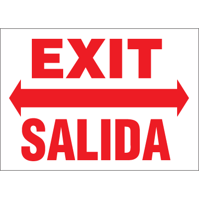 Exit Salida Sign - Bilingual Fire And Exit Sign