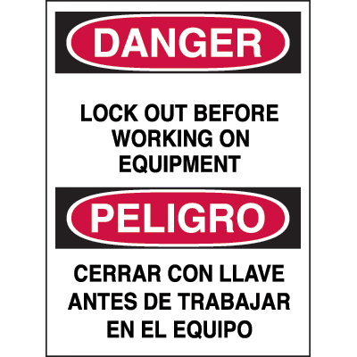 Bilingual Hazard Warning Labels - Danger Lock Out Before Working on Equipment