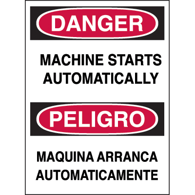 Bilingual Hazard Warning Labels - Danger Machine Starts Automatically