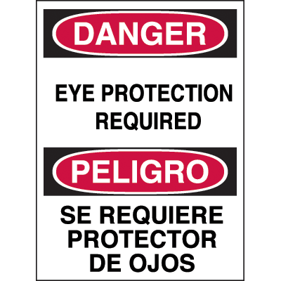 Bilingual Hazard Warning Labels - Danger Eye Protection Required