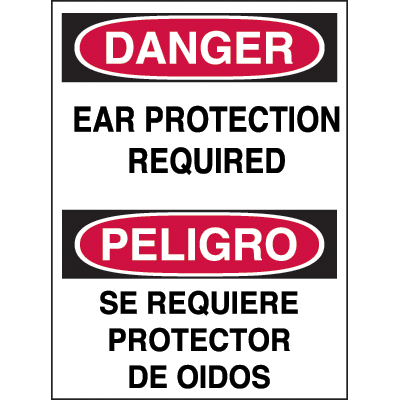 Bilingual Hazard Warning Labels - Danger Ear Protection Required