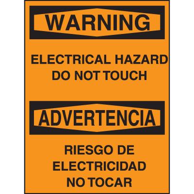Bilingual Hazard Warning Labels - Warning Electrical Hazard Do Not Touch