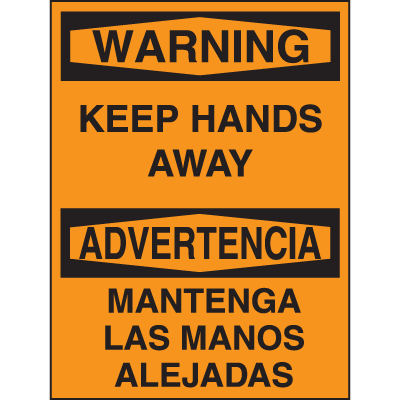 Bilingual Hazard Warning Labels - Warning Keep Hands Away
