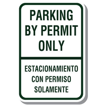 Bilingual Parking Signs - Parking By Permit Only