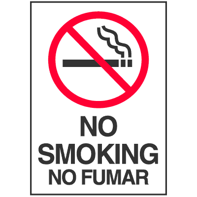No Smoking/No Fumar Bilingual Sign (Symbol)