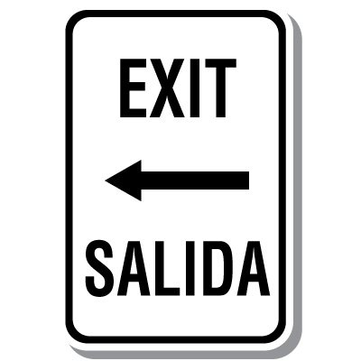 Bilingual Parking Signs - Exit with Left Arrow