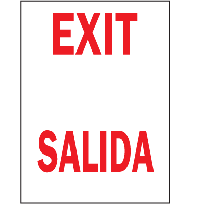 Exit / Salida Bilingual Safety Signs