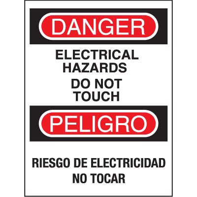Bilingual Safety Signs - Danger/Peligro - Electrical Hazards Do Not Touch