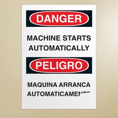 Bilingual Safety Signs - Danger/Peligro - Machine Starts Automatically