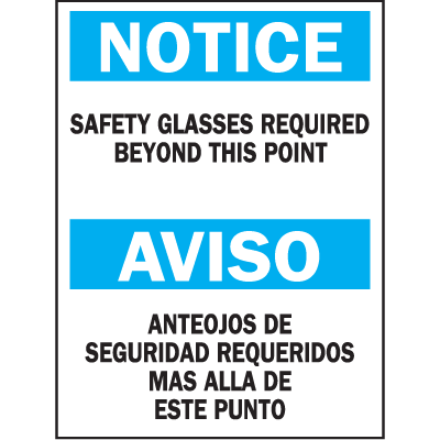Bilingual Safety Signs - Notice/Aviso - Safety Glasses Required