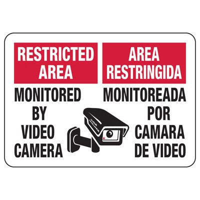 Restricted Area English-Spanish Security Signs