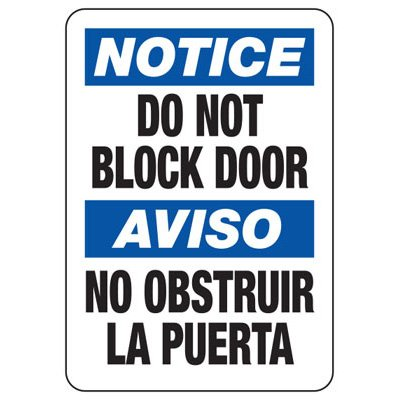 Bilingual Notice Do Not Block Door - Security Sign
