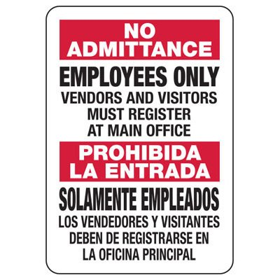 Bilingual No Admittance Employees Only - Security Sign