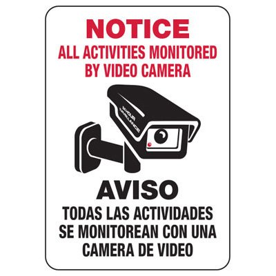 Bilingual All Activities Monitored By Video Camera - Security Sign