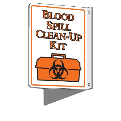 Blood Spill Clean-Up Kit - 2-Way First Aid Sign