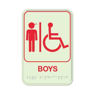 Boys (Accessibility) - Glo Brite Braille Signs