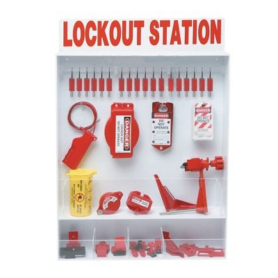 Brady Fully Equipped White Electrical Lockout Station - Contains 68 Components