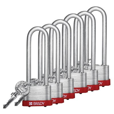 "Brady® Key Retaining 3"" Shackle Steel Locks - Keyed Alike"