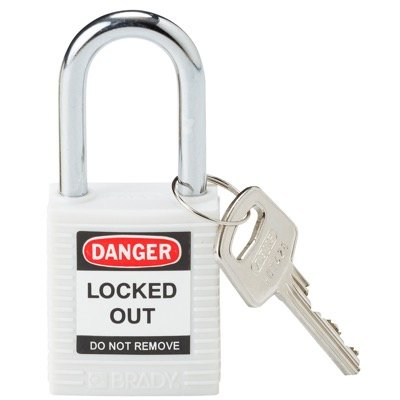 "Brady Lightweight White Safety Padlock - Keyed Different - 1.5"" Shackle (143123)"