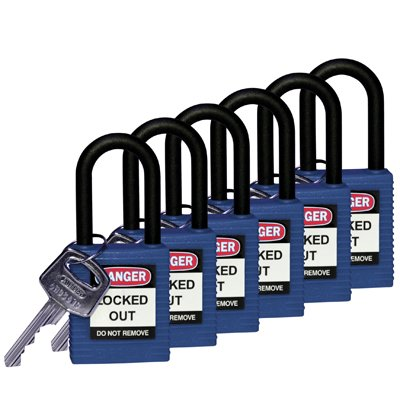 "Brady Blue Compact Safety Padlock - Keyed Different - 1"" Shackle (123325)"